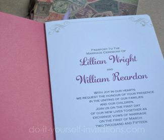 DIY passport wedding invitations