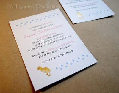 duckling birthday invitations