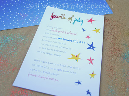 homemade stars for fourth of july invitations