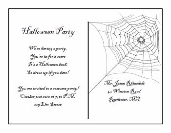 printable Halloween Postcard Invitations