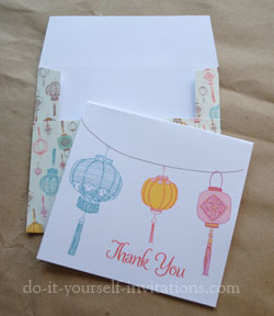 printable chinese lantern thank you cards and envelopes
