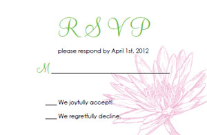 printable waterlily wedding response cards