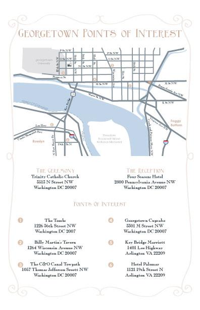 custom wedding invitation map