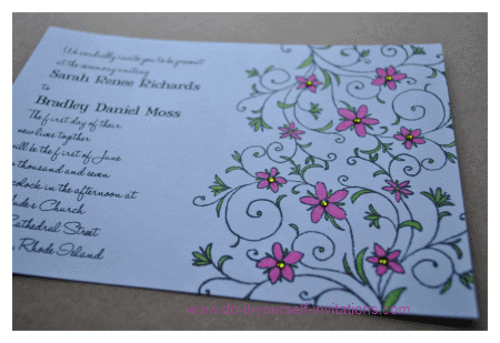 green and pink wedding invitations
