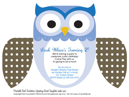 printable kids birthday invitations blue owl
