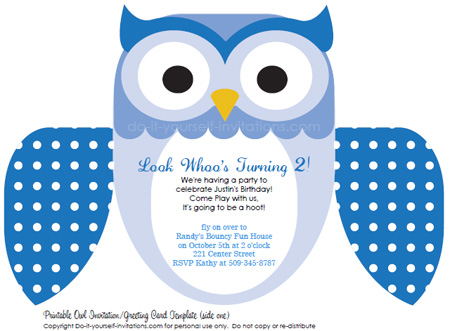 blue printable owl invitations - Printable Owl Pictures