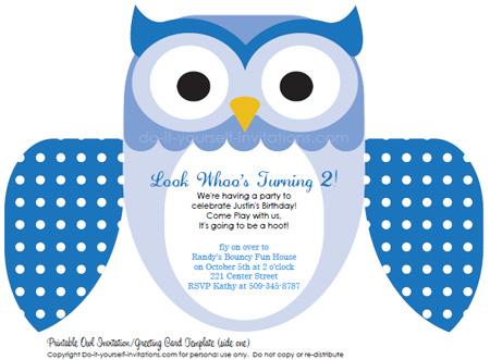 blue printable owl invitations