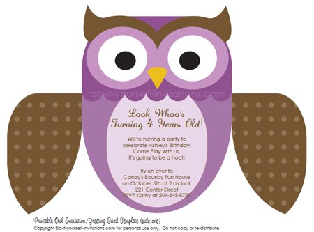 Printable DIY Kids Birthday Invitations: Cute Owl Invites printable kids birthday invitations purple owl