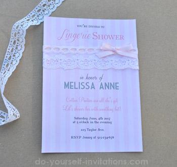 lingerie bridal shower invitations