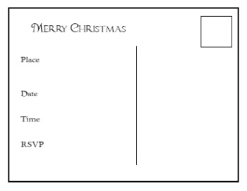 Printable Christmas Invitation Postcards