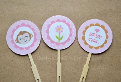 elephant baby shower printable cupcake topper