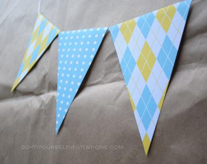 printable party bunting argyle polka dot