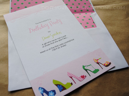 printable high heel stiletto invitations