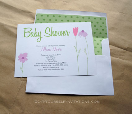 printable flower garden  baby shower invitations templates