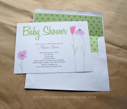 printable flower garden  baby shower invitations templates