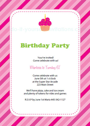 Free Printable Birthday Party Invitation Pink Stripes and Cupcake