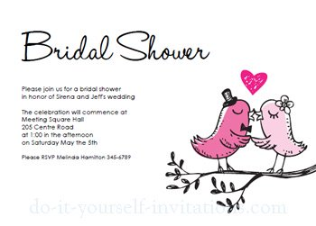 printable bridal shower invitations birds