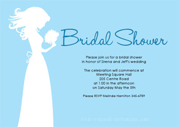 printable bridal shower invitations blue
