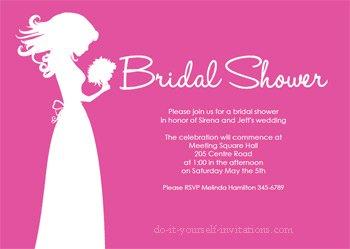 printable bridal shower invitations pink