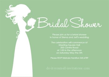 printable bridal shower invitations green