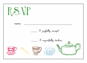 printable tea party invitations rsvp