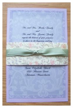 purple damask vellum wedding invitations w/ bellyband