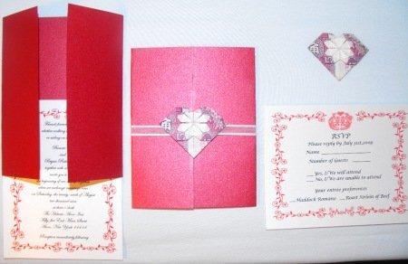 origami heart wedding invitations