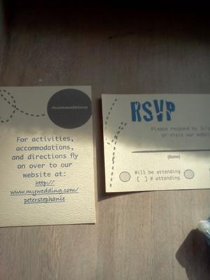 Homemade rsvp & accommodation cards
